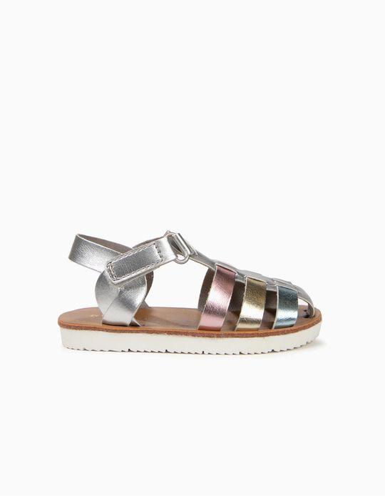 Sandálias Metalizadas para Bebé Menina, Prateado