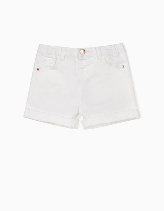 Twill Shorts for Baby Girls, White
