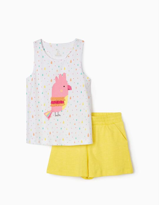 Top & Shorts for Girls, 'Bird', White/Yellow