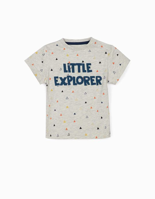 T-shirt for Baby Boys, 'Little Explorer', Marl Beige
