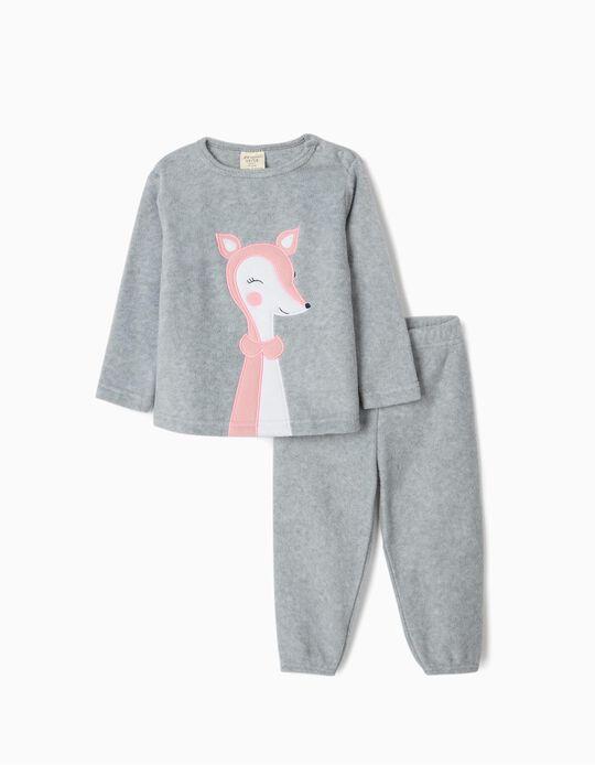 Pijama Polar para Bebé Niña 'Cute Deer', Gris