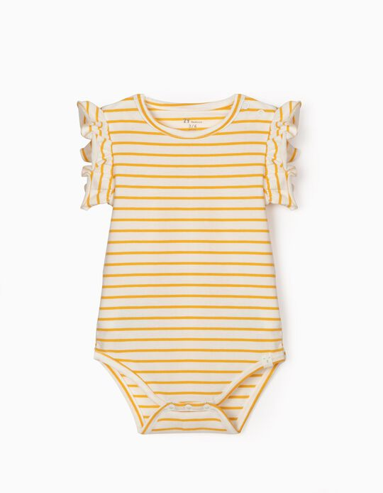 Striped Bodysuit for Baby Girls, White/Yellow