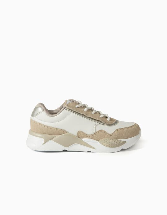 Chunky Trainers for Girls, 'ZY Easy', White/Beige