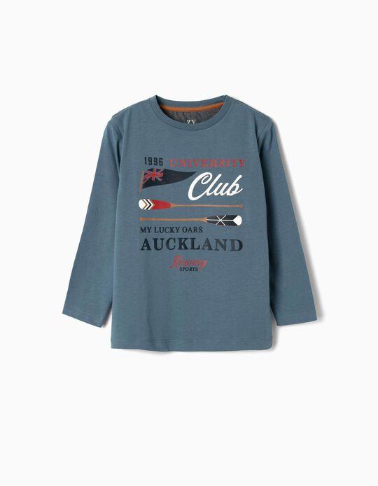 Camiseta de Manga Larga para Niño 'Auckland', Azul