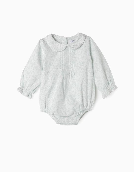 Body-Blusa para Recém-Nascida, Branco e Verde