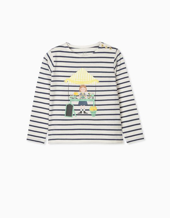 T-shirt Manga Comprida para Menina 'Sweets', Azul/Branco