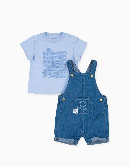 T-shirt e Macacão de Ganga para Recém-Nascido LOSAN, Azul