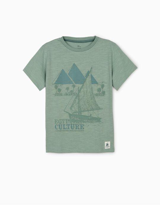 T-shirt para Menino 'Egyptian Culture', Azul Esverdeado