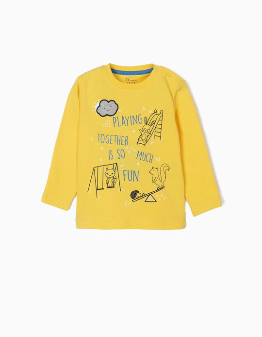 Camiseta de Manga Larga para Bebé Niño 'Playin Together', Amarillo