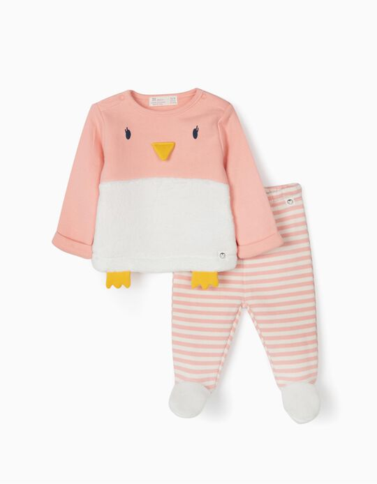 Chándal para Recién Nacida 'Cute Penguin', Rosa/Blanco