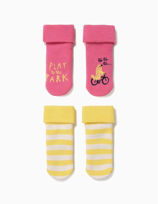 Pack 2 Calcetines Antideslizantes para Bebé Niña, Rosa y Amarillo