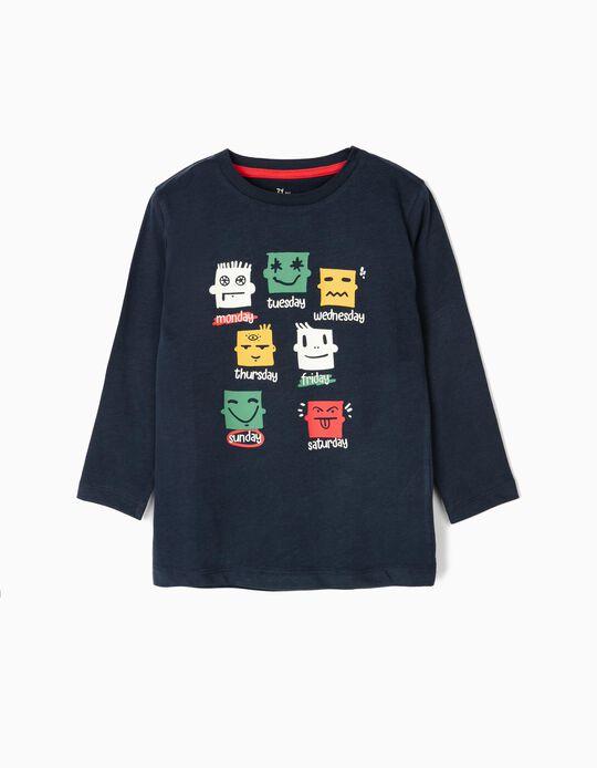 T-shirt Manga Comprida para Menino 'Week Moods', Azul-Escuro