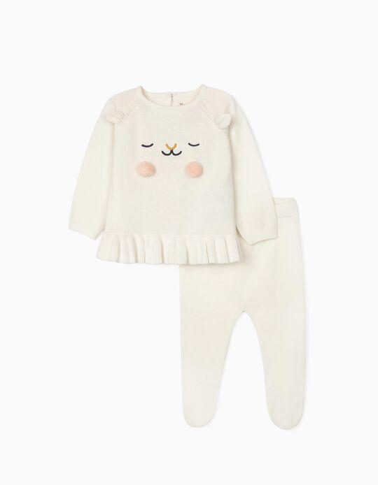 Pull + Pantalon en Maille Nouveau-Née, Blanc