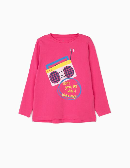 Camiseta de Manga Larga para Niña 'Dance Party', Rosa