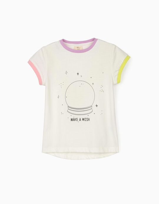 T-shirt for Girls 'Make a Wish', White