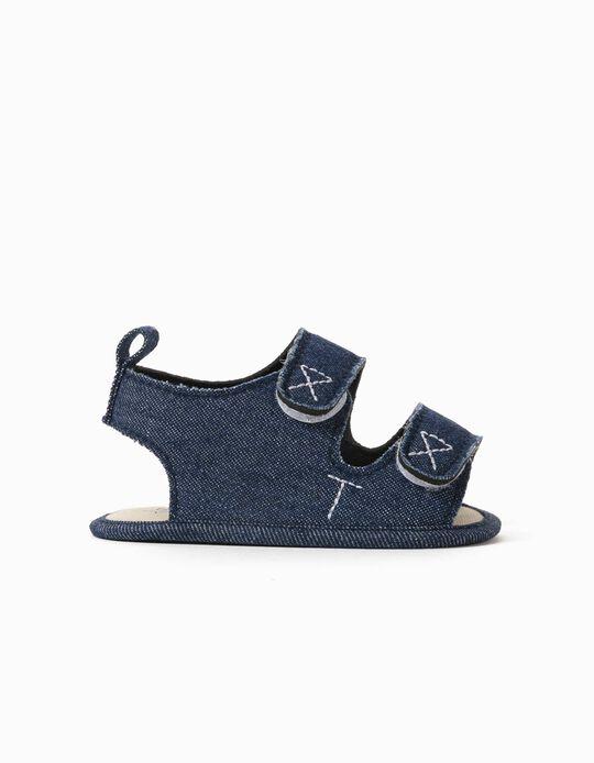 Denim Sandals for Newborn Baby Boys, Blue