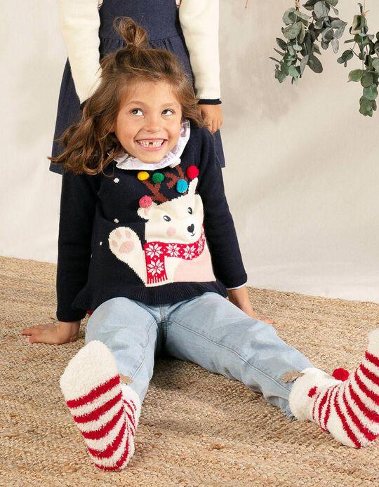 Camisola de Malha para Menina 'Christmas Bear', Azul Escuro