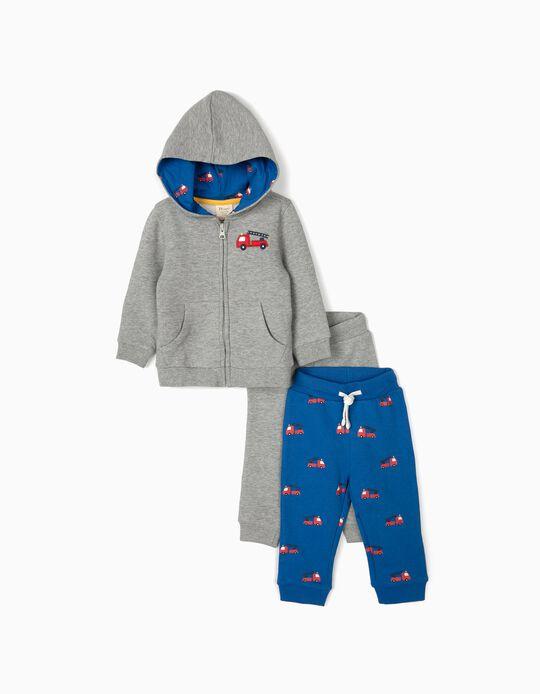 Chándal con 2 Pantalones para Bebé Niño 'Firetruck', Azul/Gris
