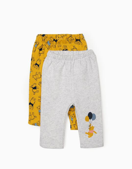 2 Pantalones para Bebé Niño 'Winnie the Pooh', Amarillo/Gris