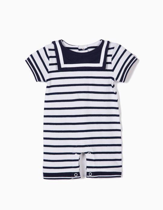 Macacão para Recém-Nascido 'Little Sailor', Azul e Branco