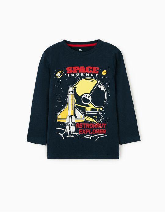 T-shirt Manga Comprida para Menino 'Startup', Azul Escuro