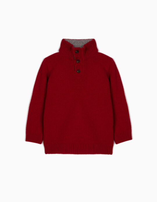 Wool Jumper with Elbow Pads for Boys, Red