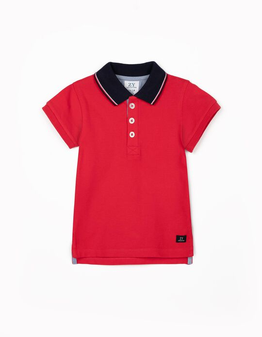 Short Sleeve Polo Shirt for Baby Boys, Red