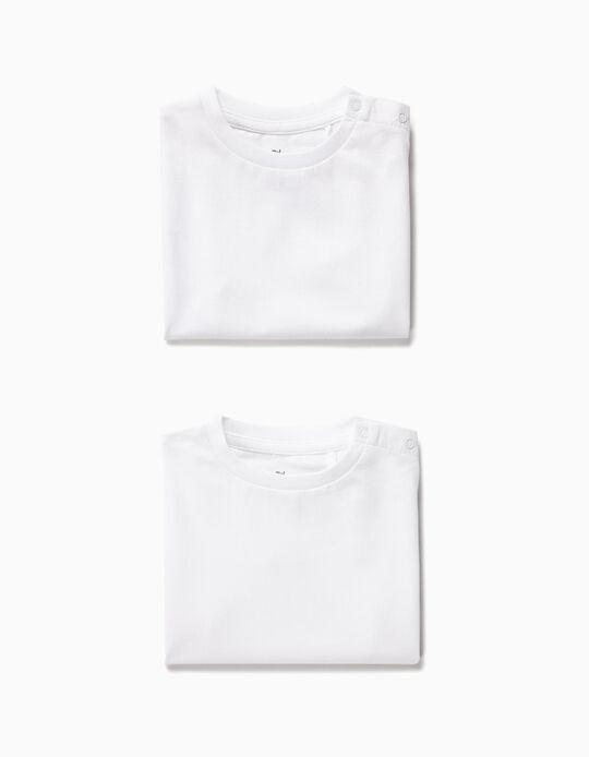 2 Camisetas para Bebé Niño, Blancas