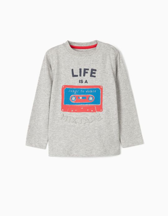 Long-sleeve Top for Baby Boys 'Mixtape', Grey