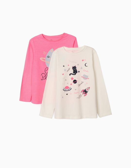 2 Long Sleeve Tops for Girls 'Cats Planets', Pink/White