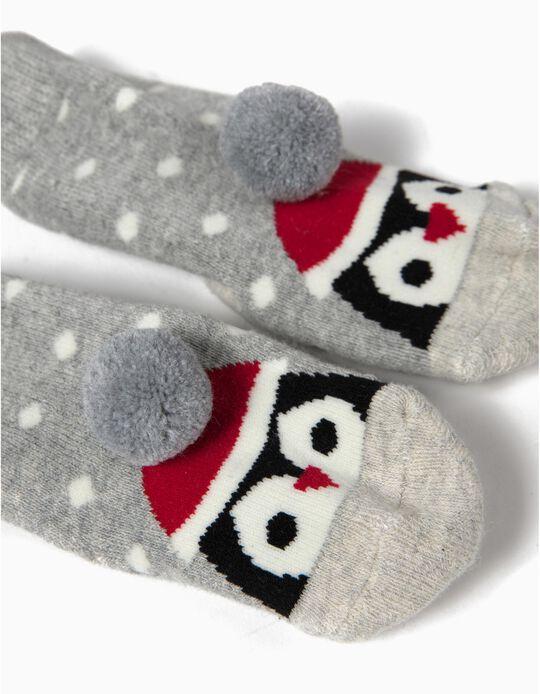 Calcetines Antideslizantes Pingüino Navidad Gris