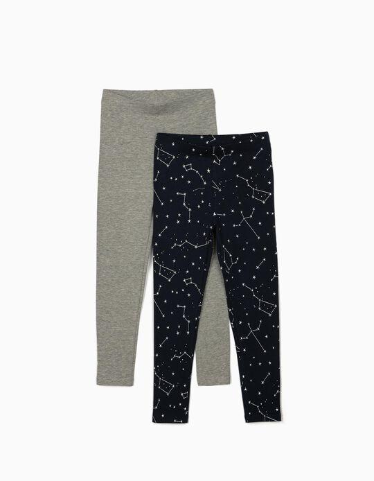 2 Leggings para Niña 'Stars', Gris/Azul Oscuro