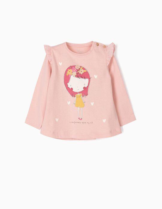 T-shirt Manga Comprida para Bebé Menina 'Friendship', Rosa