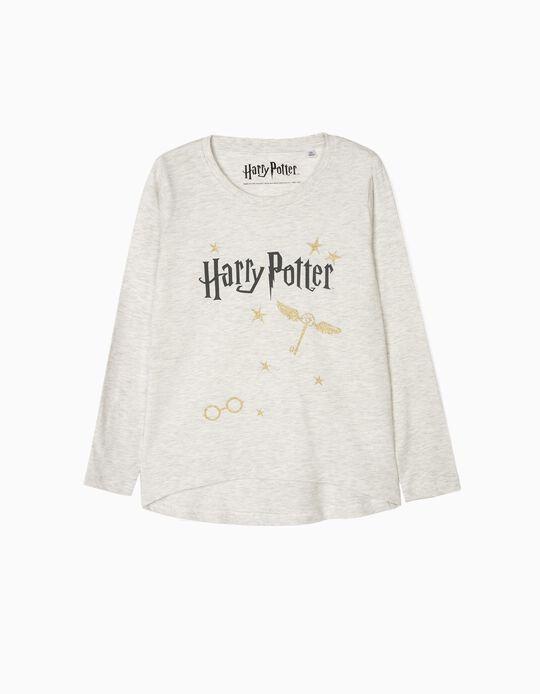 T-shirt Manga Comprida para Menina 'Harry Potter', Cinza