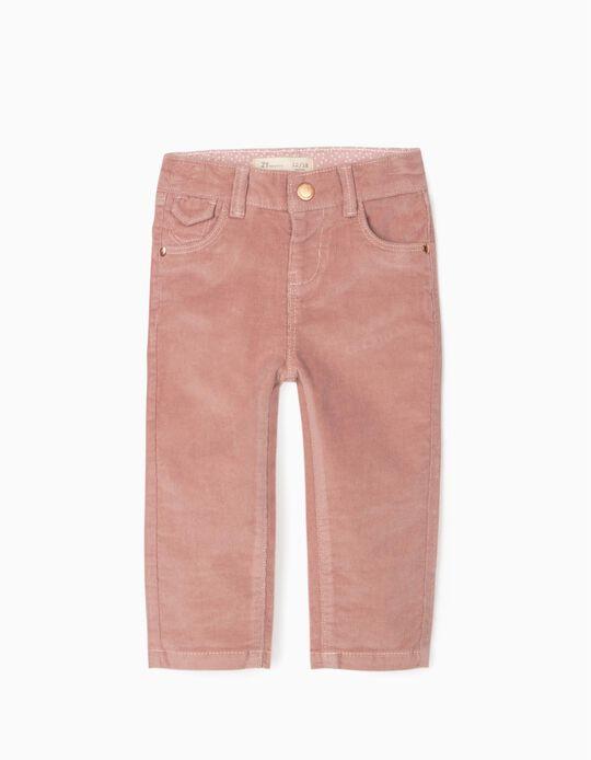 Pantalon Velours Côtelé Bébé Fille, Rose