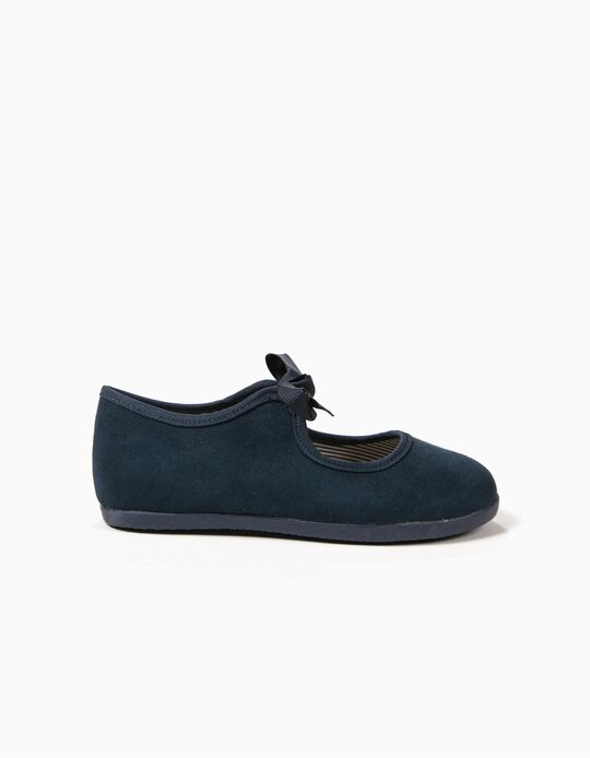 Velvet Ballerinas for Girls 'ZY Ballerina', Dark Blue