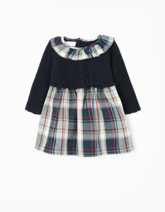 Vestido de Dos Materias para Recién Nacida 'B & S', Multicolor