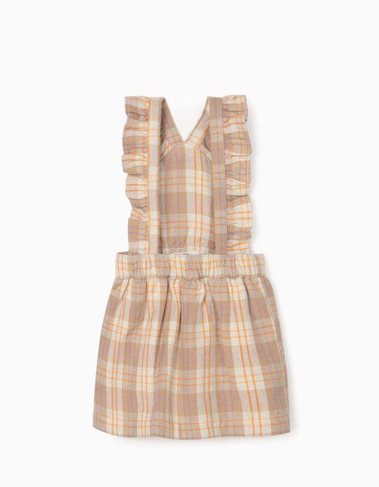 Plaid Dungaree Dress for Newborn Baby Girls, Beige/Orange