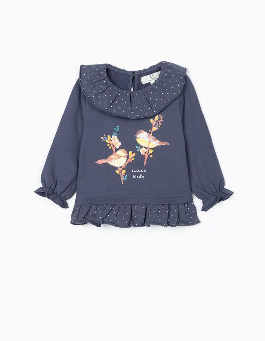 Sweatshirt para Bebé Menina 'Sweet Birds', Azul