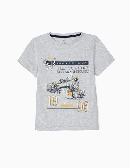 Camiseta para Niño 'Vintage Train', Gris
