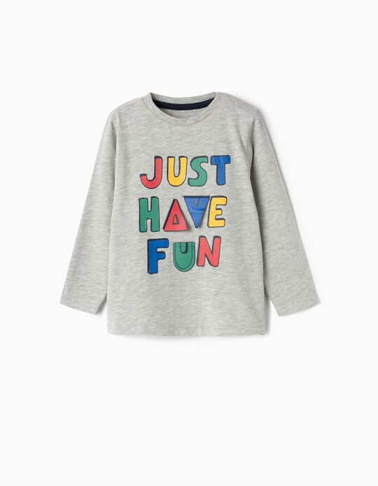 Long-sleeve Top for Baby Boys 'ABC', Grey