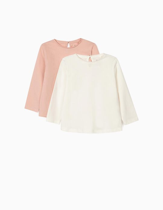 2 Long Sleeve T-Shirts for Baby Girls, White/Pink