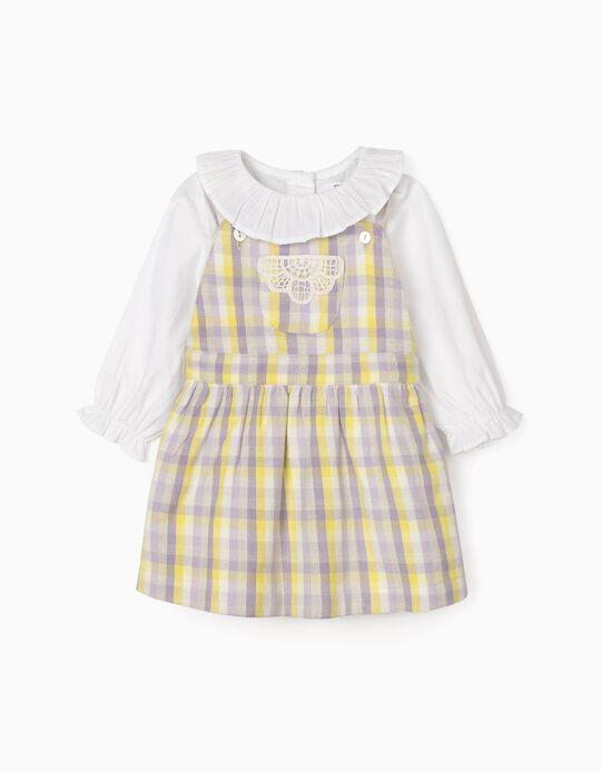 Blouse-Bodysuit + Dungaree Dress for Baby girls, Purple/Yellow
