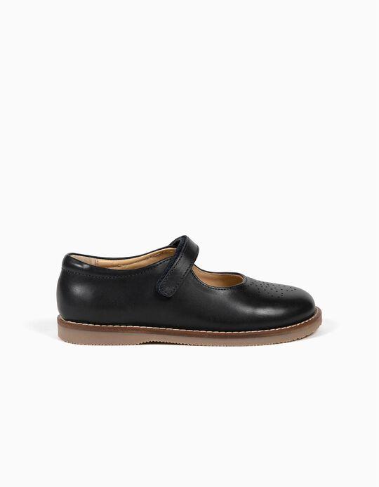 Zapatos de Piel para Niña, Azul Oscuro