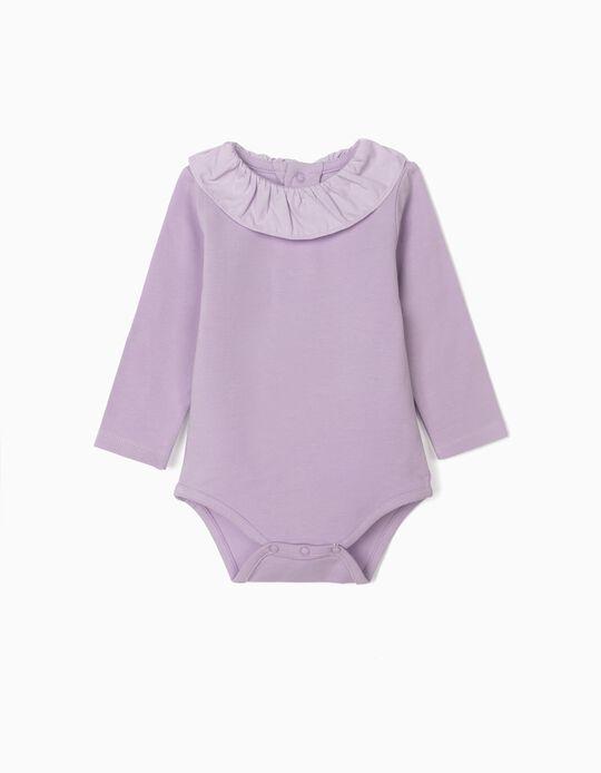Bodysuit with Ruffle for Newborn Baby Girls, Purple
