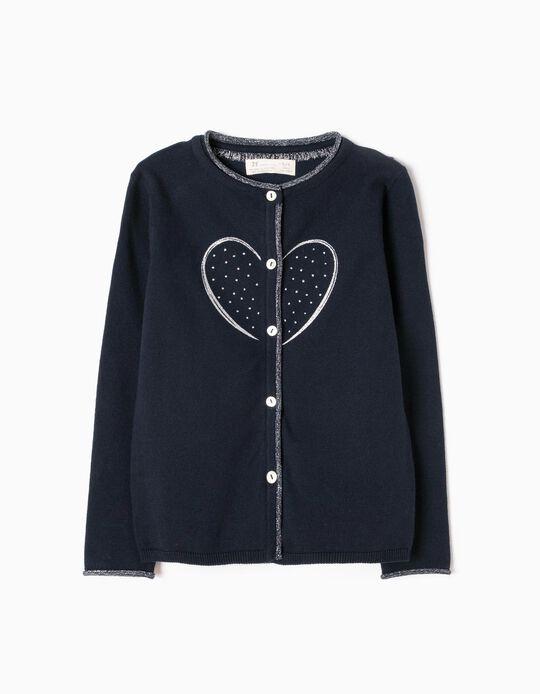 Casaco de Malha Azul Coração