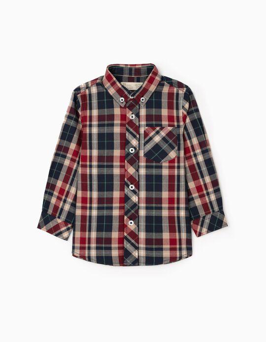 Camisa Ajedrez para Bebé Niño, Azul/Burdeos/Beige