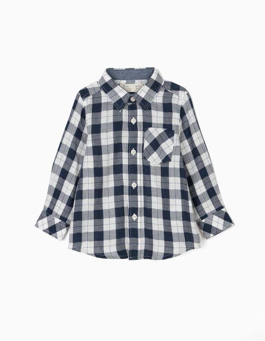 Camisa Ajedrez para Bebé Niño, Azul Oscuro y Blanco