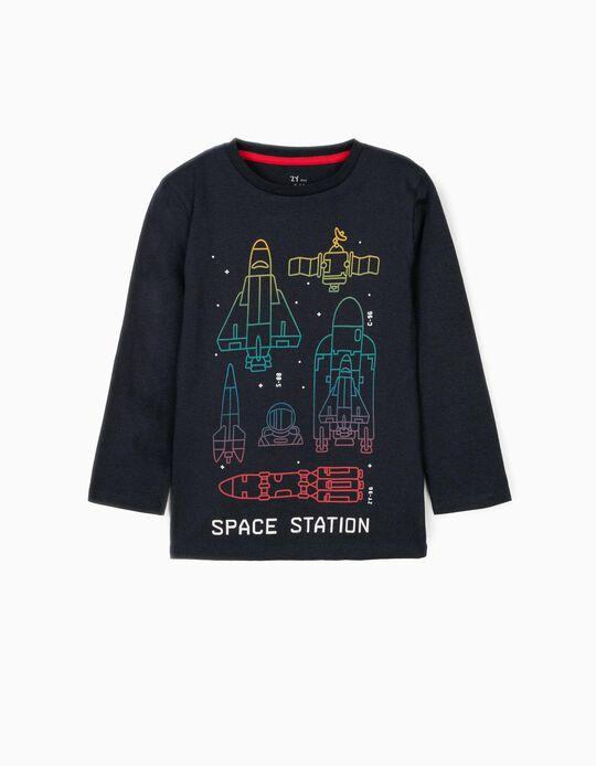 Camiseta de Manga Larga para Niño 'Space Station', Azul Oscuro