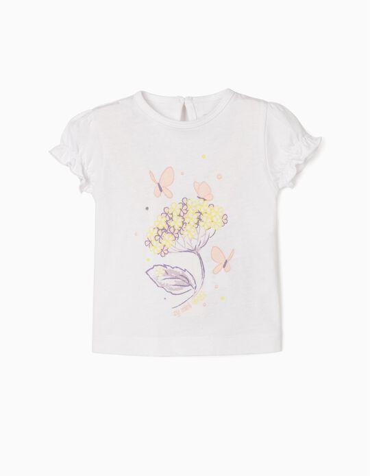 T-shirt for Newborn Baby Girls, 'Flowers & Butterflies', White